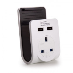 Power Adaptor 2 x USB Charger Outlet UK Spec